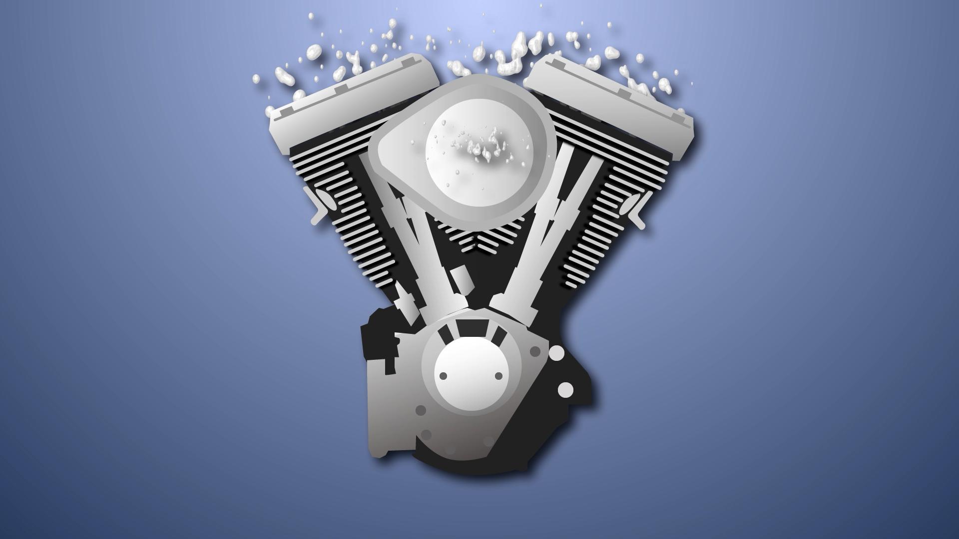 ハーレーのエンジンのイラストが動く無料素材